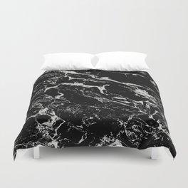 Modern silver black marble pattern Duvet Cover