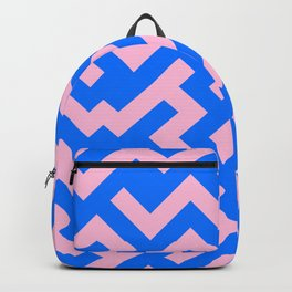 Cotton Candy Pink and Brandeis Blue Diagonal Labyrinth Backpack