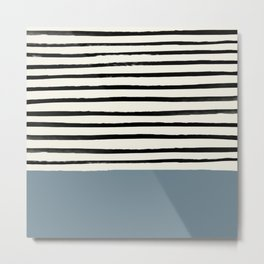 Dusty Blue x Stripes Metal Print
