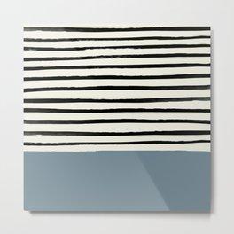 Dusty Blue x Stripes Metal Print