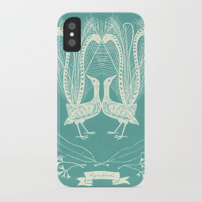 Lyrebird (eggshell blue) iPhone Case