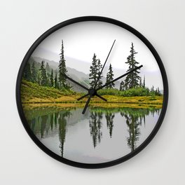 REFLECTIONS ON A PLACID MOUNTAIN LAKE Wall Clock