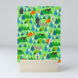 Forest with cute little bunnies and bears Mini Art Print