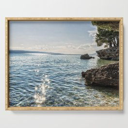 Seaside of Riviera Makarska in Croatia Serving Tray