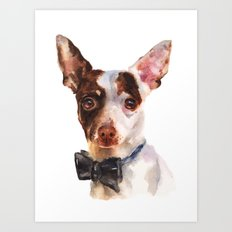 Chihuahua, dog painting, puppy prints, bow tie, watercolor Art Print
