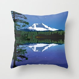 Mt Adams and Stars and Tree Throw Pillow