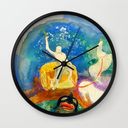 "Odilon Redon ""Apollo riding a green monster (Apollon chevauchant un monstre vert)"" Wall Clock"