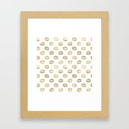 White & Gold Lip Pattern Framed Art Print