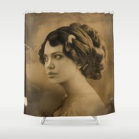angelina jolie Shower Curtains featuring Angelina Jolie Vintage ReplaceFace by Maioriz Home