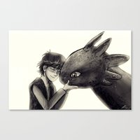 hiccup Canvas Prints featuring Hiccup and Toothless by AndytheLemon