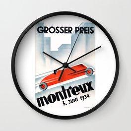 1934 Switzerland Montreux Grand Prix Racing Poster Wall Clock