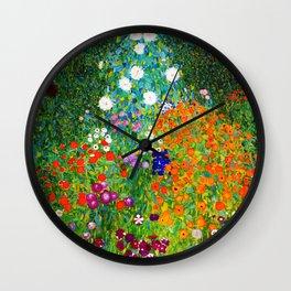 """Gustav Klimt """" Farmer's Garden """" Wall Clock"""