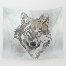 Wolf Head Illustration Wall Tapestry