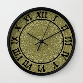 olive ornament , mandala , kaleidoscope  Wall Clock