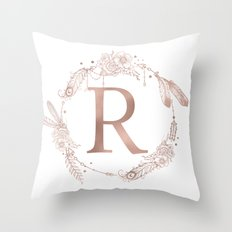 Letter R Rose Gold Pink Initial Monogram Throw Pillow