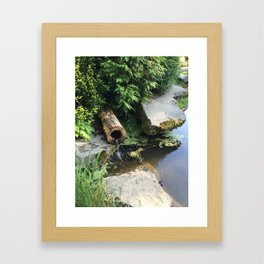 Kubota Garden pond with log Framed Art Print