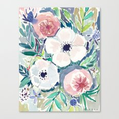 White Anemone Floral Canvas Print