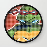 teenage mutant ninja turtles Wall Clocks featuring Teenage Mutant Ninja Turtles - Raphael by James Brunner