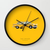 taxi driver Wall Clocks featuring Taxi Driver  | Famous Cars by Fred Birchal
