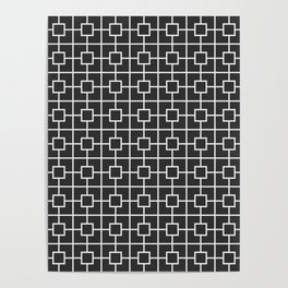 Charcoal Gray Square Chain Pattern Poster