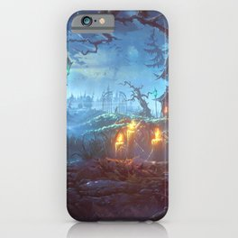 Scary Halloween Haunted House Jack O Lantern Pumpkinhead On Graveyard iPhone Case