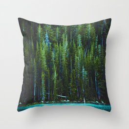 Evergreen Forest on Water (Color) Throw Pillow
