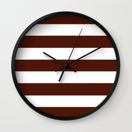 French puce - solid color - white stripes pattern Wall Clock