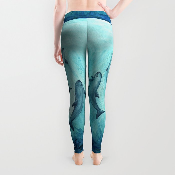 """Song of the Vaquita"" by Amber Marine ~ Watercolor Painting, (Copyright 2015) Leggings"