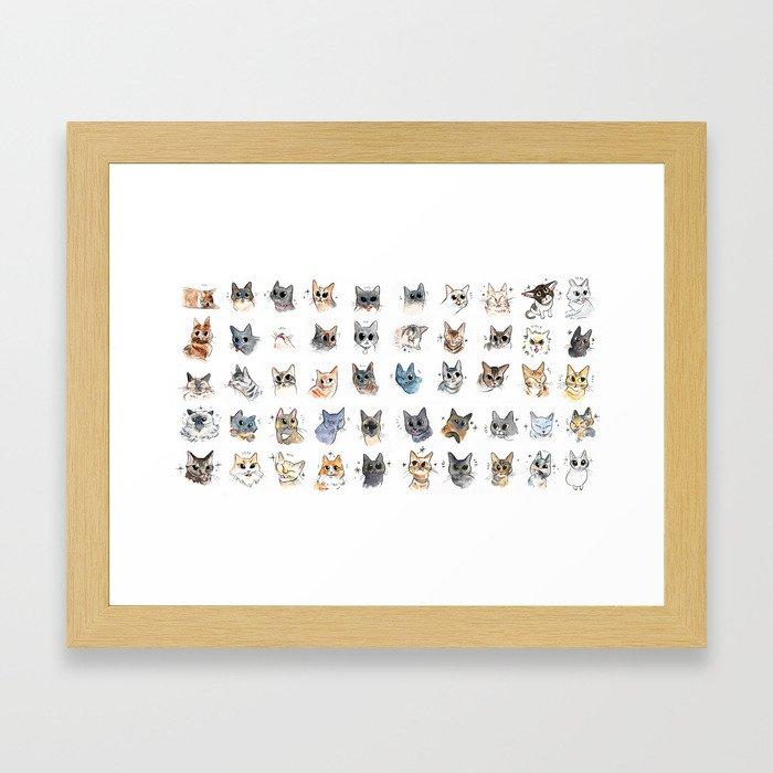 50 cat bleps! Framed Art Print