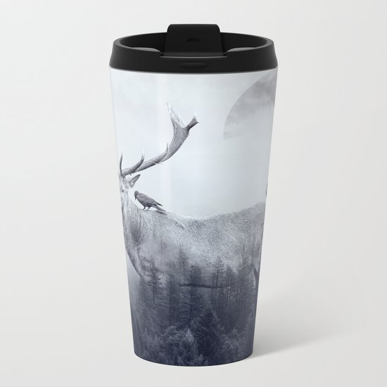 deer autumn Metal Travel Mug