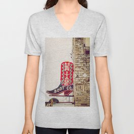 Downtown Austin Texas Neon Unisex V-Neck