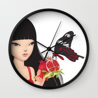 ruby Wall Clocks featuring Ruby by Anne  Martwijit