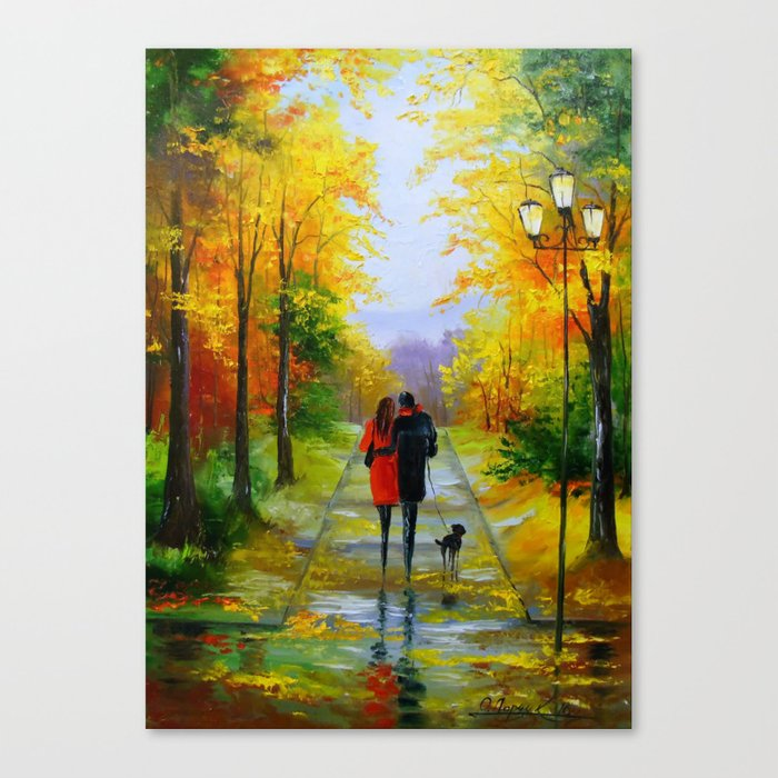 Walk in the early autumn Canvas Print