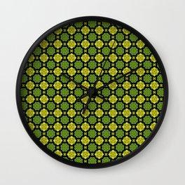 Green Flower Pattern Wall Clock