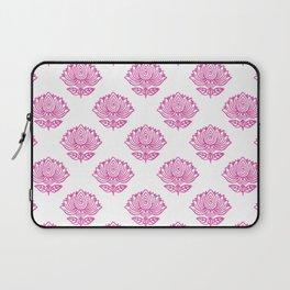 Pink Indian Woodblock Lotus Pattern Laptop Sleeve
