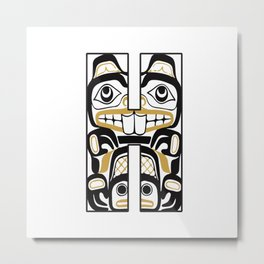 Northwest Pacific Coast American Native Totem Letter H Metal Print