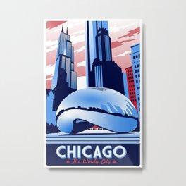 Chicago Illinois Retro Travel poster Metal Print