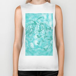 Abstract butterflies in teal landscape Biker Tank