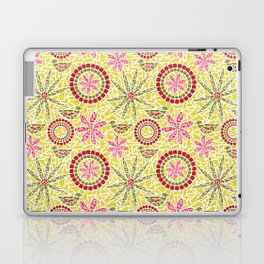 Birds and Flowers Mosaic - Yellow, green and pink Laptop & iPad Skin