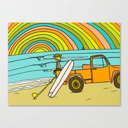 Retro Surf Days Single Fin Pick Up Truck Canvas Print