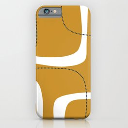 Retro Loops and Dots Midcentury Modern Pattern in Mustard Gold, White, and Navy Blue iPhone Case