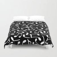 music notes Duvet Covers featuring Music Notes Black and White by Cute to Boot