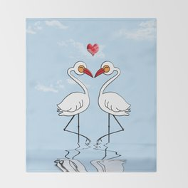 Heron Birds In Love Throw Blanket