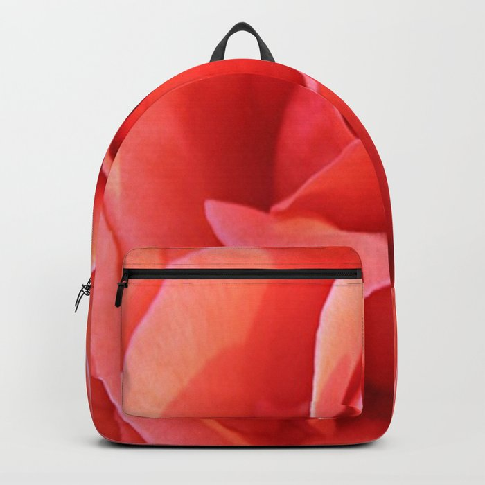 Salmon Floral Rose Abstract Backpack