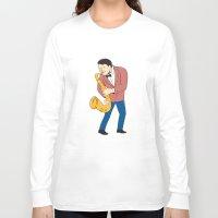 saxophone Long Sleeve T-shirts featuring Musician Playing Saxophone Cartoon by patrimonio