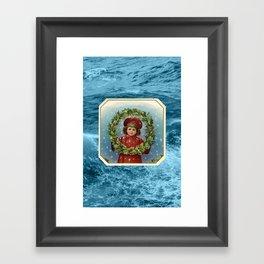 Christmas Card (Wreath Waves) Framed Art Print