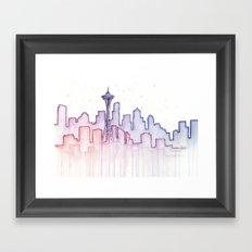 Seattle Skyline Watercolor Framed Art Print