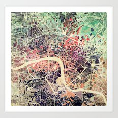 London Mosaic Map #1 Art Print
