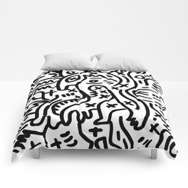 Graffiti Street Art Black and White Comforters