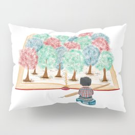 Watercolor Illustration of a writer staring at the forest in the book Pillow Sham